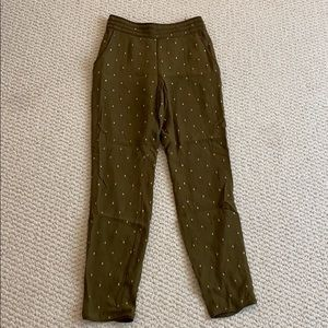 Green with embroidered gold detailed trousers